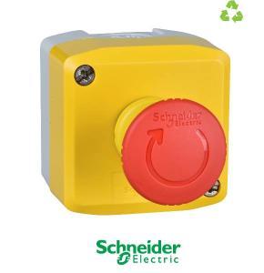 Plastic, yellow lid, 1 red mushroom push button